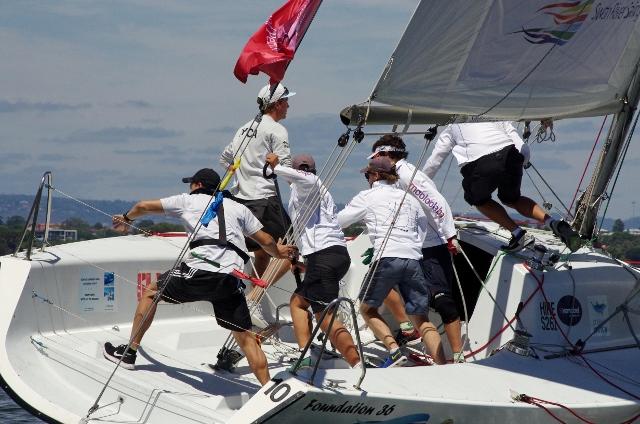 Photo – The Mooloolaba Yacht Club team in full flight in this year's Warren Jones International Youth Regatta. Credit - Rick Steuart, Perth Sailing Photography.